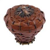 Hamptons Saddle Leather Knob 2 Inch - Aged Bronze