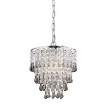 TEAK AND CLEAR CRYSTAL PENDANT LAMP