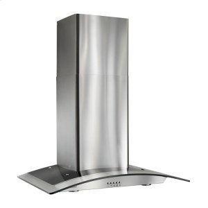 "Broan35-7/16"" Arched Glass Chimney Hood"