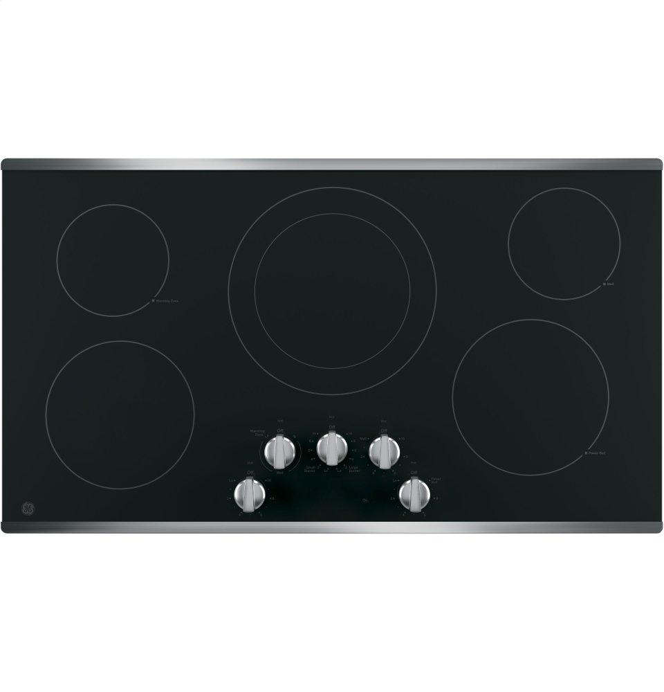 """GE(R) 36"""" Built-In Knob Control Electric Cooktop  STAINLESS STEEL"""