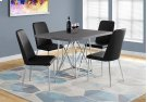 """DINING TABLE - 36""""X 48"""" / GREY / CHROME METAL Product Image"""