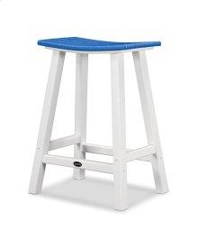 "White & Pacific Blue Contempo 24"" Saddle Bar Stool"