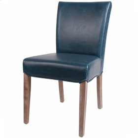 Beverly Hills Bonded Leather Drift Wood Legs, Vintage Blue