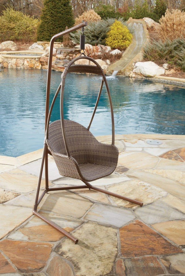 Island Cove Woven Hanging Chair W/ Base