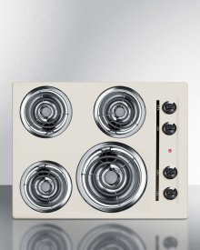 """24"""" Wide 220v Electric Cooktop In Bisque With 4 Coil Elements"""