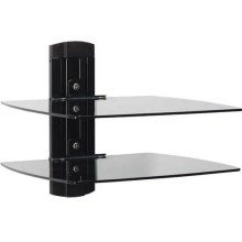 Black On-Wall Component Shelving Single-column AV component system with two shelves