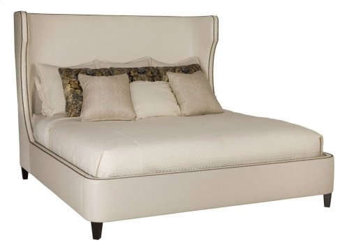 King-Sized Wheeling Upholstered Bed in Espresso