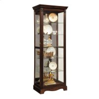 Carved 5 Shelf Mirrored Curio Cabinet in Cherry Brown Product Image