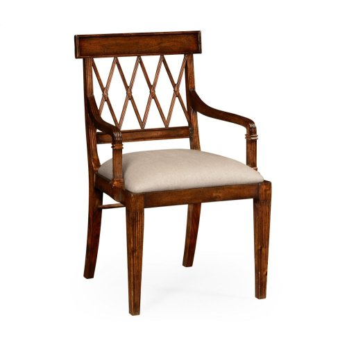Regency Style Lattice Back Dining Armchair