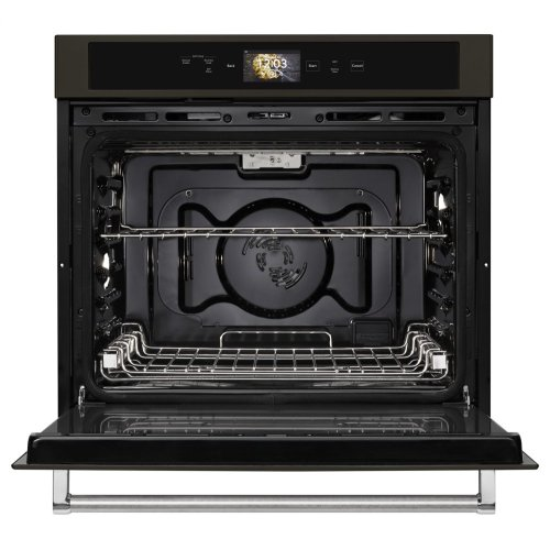 """Smart Oven+ 30"""" Single Oven with Powered Attachments and PrintShield Finish - Black Stainless Steel with PrintShield™ Finish"""