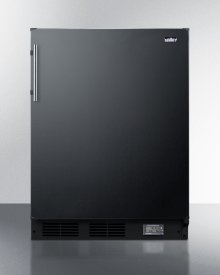 Counter Height Break Room Refrigerator-freezer In Black With Nist Calibrated Thermometer and Alarm