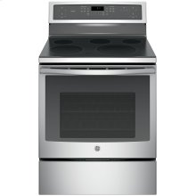 """GE Profile™ Series 30"""" Free-Standing Electric Convection Range (This is a Stock Photo, actual unit (s) appearance may contain cosmetic blemishes. Please call store if you would like actual pictures). This unit carries our 6 month warranty, MANUFACTURER WARRANTY and REBATE NOT VALID with this item. ISI 33012"""