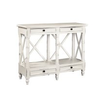 CC-TAB1023LD-WW  Cottage X Console Table  4 Drawers  Shelf  Distressed White