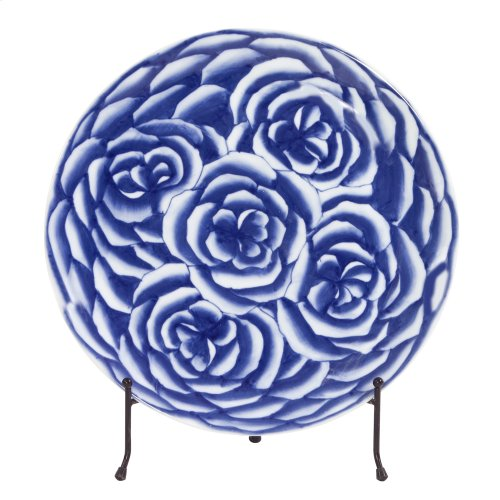 Blue and White Abstract Rose Ceramic Charger
