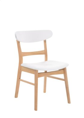 Emerald Home Simplicity Side Chair Wood Back W/uph Seat White & Natural D546-20