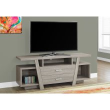 "TV STAND - 60""L / DARK TAUPE WITH 2 STORAGE DRAWERS"