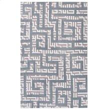 Nahia Geometric Maze 5x8 Area Rug in Ivory, Light Gray and Sky Blue