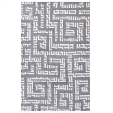 Nahia Geometric Maze 5x8 Area Rug in Ivory, Light Gray and Sky Blue