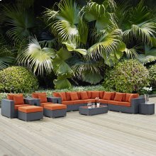 Sojourn 11 Piece Outdoor Patio Sunbrella® Sectional Set in Canvas Tuscan