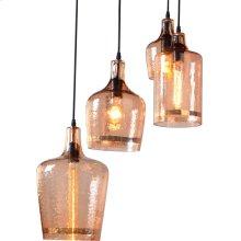 Luminaire Hammered Glass Pendant Light Group of 4