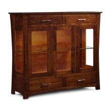 Loft 3-Door Dining Cabinet, Plain Glass Doors and Ends, 2-LED Light System, Soft Maple #28 Bourbon