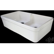 """Biscuit 32"""" Short Wall Double Bowl Fireclay Farmhouse Kitchen Sink with 1 3/4"""" Lip"""