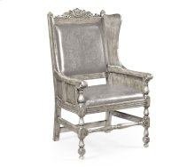 Jacobean Style Grey Oak Wing Chair