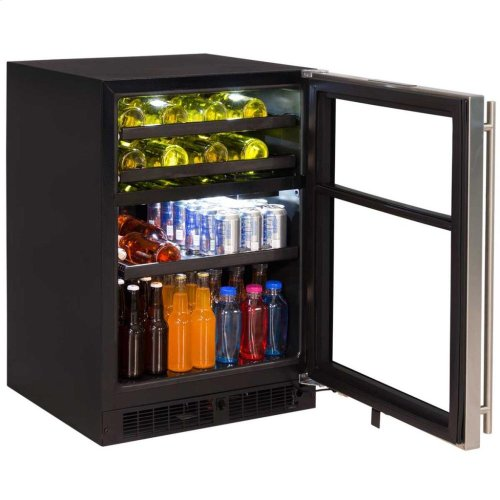 "24"" Dual Zone Wine and Beverage Center - Panel-Ready Solid Overlay Door - Integrated Right Hinge"