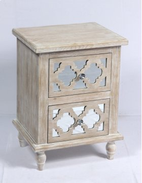 2 Drawer Accent Table-weathered Wood Finish W/mirror Accent Su