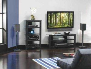 "Black Natural Series 36"" tall for small bookshelf speakers"