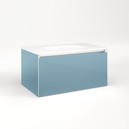 """Cartesian 30-1/8"""" X 15"""" X 18-3/4"""" Slim Drawer Vanity In Ocean With Slow-close Full Drawer and Selectable Night Light In 2700k/4000k Temperature (warm/cool Light)"""