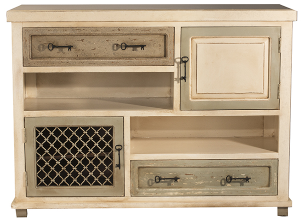 Larose Console Cabinet   Rustic White And Gray