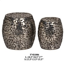 S/2 METAL PEBBLE STOOL, 1 SET / 4.63'