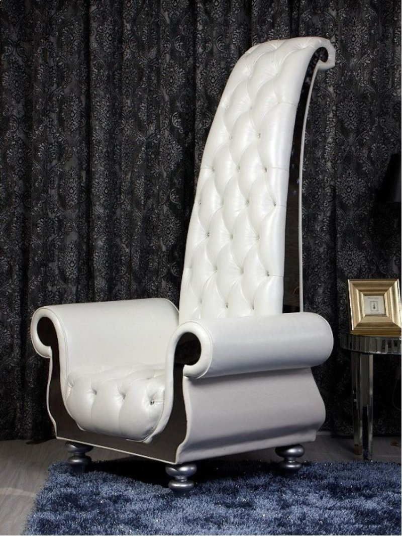 Additional Divani Casa Luxe Neo Classical Pearl White Italian Leather Tall Chair