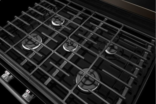 30-Inch 5-Burner Gas Convection Range - Black Stainless
