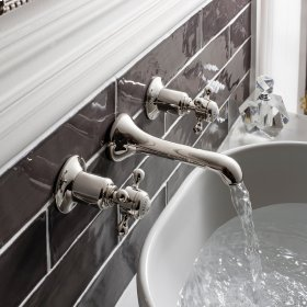 Belgravia Crosshead Wall Mounted Widespread Lavatory Faucet Trim - Polished Nickel