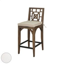 Teak Patio Barstool Cushion in White