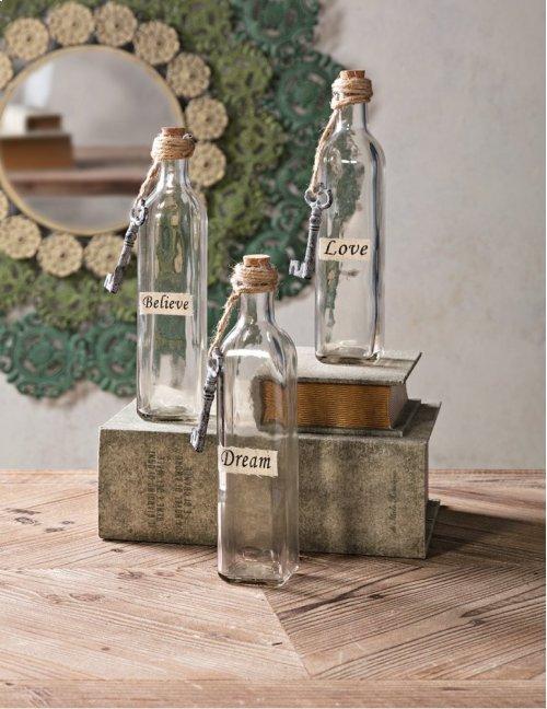 Magdaline Inspirational Glass Bottles - Set of 3