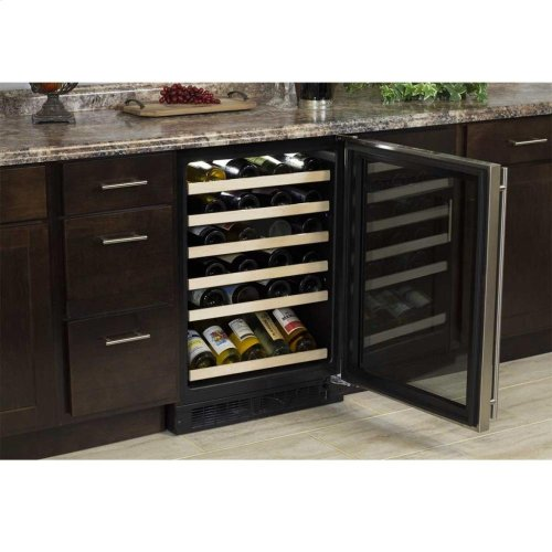 "24"" High Efficiency Single Zone Wine Cellar - Black Frame Glass Door - Right Hinge, Stainless Designer Handle"