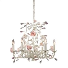 Heritage 6-Light Chandelier in Cream with Porcelain Roses and Crystal