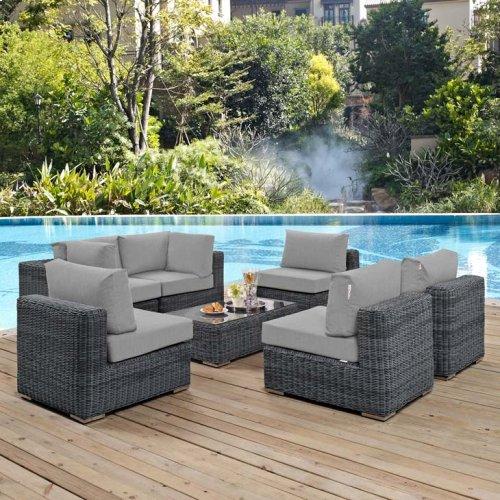 Summon 7 Piece Outdoor Patio Sunbrella® Sectional Set in Canvas Gray