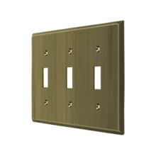 Switch Plate, Triple Standard - Antique Brass