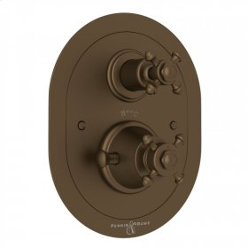 English Bronze Perrin & Rowe Georgian Era Oval Thermostatic Trim Plate With Volume Control with Georgian Era Cross Handle