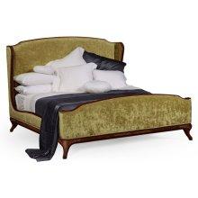 US Queen Louis XV Mahogany Bed, Upholstered in Lime Velvet