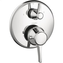 Chrome Thermostatic Trim with Volume Control and Diverter, Round