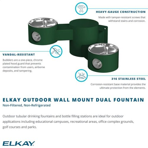 Elkay Outdoor Drinking Fountain Wall Mount, Bi-Level Non-Filtered Non-Refrigerated