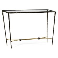 Hammered Antique Black Brass Rectangular Console