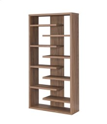 - Staggered eight shelf bookcase finished in elm- Constructed with MDF, particle board, and engineered veneer- Also available in cappuccino (#800265)