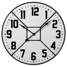 Black & White Enamel Divided Wall Clock.