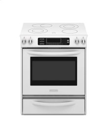 ***FLOOR MODEL ONLY*** Slide-In Electric Range True Convection Oven Beveled Glass Cooktop Contoured Front Control Knobs Four Elements Three Double-Ring Elements Architect® Series II(White-on-White)